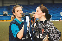 Marianne Spacey and Pauline Cope of Arsenal celebrate with the Cup during Arsenal Ladies vs Liverpool Ladies, FA Women's Cup Final Football at Prenton Park on 30th April 1995