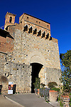 Entrance to the walled town of San Gimignano start point of the 2015 Strade Bianche Eroica Pro cycle race running 200km over the white gravel roads from San Gimignano to Siena, Tuscany, Italy. 6th March 2015<br /> Photo: Eoin Clarke www.newsfile.ie