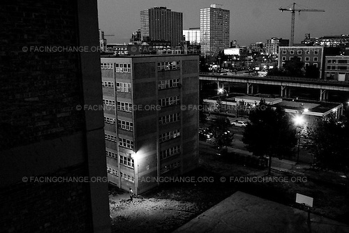 Chicago , Illinois <br /> USA<br /> July 2008<br /> <br /> The Harold Ickes Homes was none as the fifth in the nation's top 10 poorest neighborhoods. As the maga buildings come down some residents are left with nowhere to go. In 2009 President Barack Obama allocated $13.6 billion to the U.S. Department of Housing and Urban Development for affordable housing and community development.