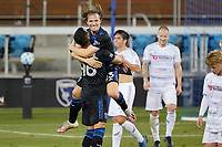 SAN JOSE, CA - NOVEMBER 4: Florian Jungwirth #23 of the San Jose Earthquakes celebrates with Judson #93 during a game between Los Angeles FC and San Jose Earthquakes at Earthquakes Stadium on November 4, 2020 in San Jose, California.