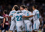Marco Asensio Willemsen of Real Madrid celebrates with teammates during the La Liga 2017-18 match between Real Madrid and SD Eibar at Estadio Santiago Bernabeu on 22 October 2017 in Madrid, Spain. Photo by Diego Gonzalez / Power Sport Images