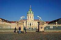 Tourists visiting Palace Schloss Charlottenburg in Berlin, built 1695-1699  for Sophie Charlotte, wife of king Frederick I
