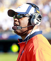 Oct. 15, 2011-Charlottesville, VA.-USA-  Virginia Cavaliers head coach Mike London during an ACC football game against the Georgia Tech at Scott Stadium. Virginia won 24-21. (Credit Image: © Andrew Shurtleff