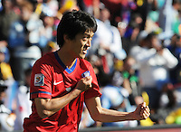 South Korea midfielder Chung Yong Lee celebrates his stoppage time goal at the end of the first half.Argentina defeated South Korea, 4-1, in both teams' second match of play in Group B of the 2010 FIFA World Cup. The match was played at Soccer City in Johannesburg, South Africa June 17th.