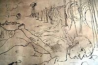 Carpi / Modena / Italia.Graffito di Corrado Cagli all'interno del Museo al deportato dedicato alla memoria delle vittime dei campi di concentramento nazisti..Murales made by Corrado Cagli to remember the victims of Nazi concentration camps. The Memorial Museum is located in the Palazzo Pio, overlooking Martyrs' Square, the main square of the old town of Carpi..Photo Livio Senigalliesi.