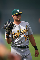 Oakland Athletics Seth Brown (16) warms up before an instructional league game against the San Francisco Giants on October 12, 2015 at the Giants Baseball Complex in Scottsdale, Arizona.  (Mike Janes/Four Seam Images)