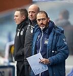13.02.2021 Rangers v Kilmarnock: Killie's assistant manager Paul Stephenson holding a list of Rangers danger men
