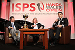 ISPS Handa Wales Open 2012.Gethin Jones hosting a Q&A with Spanish Ryder Cup stars Jose Maria Olazabal and Miguel Angel Jimenez at the Gala Dinner..29.05.12.©Steve Pope