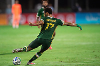 LAKE BUENA VISTA, FL - AUGUST 11: Jeremy Ebobisse #17 of the Portland Timbers kicks the ball during a game between Orlando City SC and Portland Timbers at ESPN Wide World of Sports on August 11, 2020 in Lake Buena Vista, Florida.