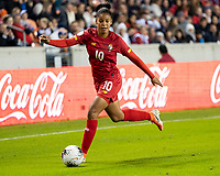 HOUSTON, TX - JANUARY 31: Aldrith Quintero #10 of Panama attacks with the ball during a game between Panama and USWNT at BBVA Stadium on January 31, 2020 in Houston, Texas.