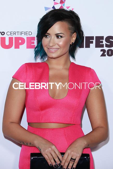 SANTA MONICA, CA, USA - OCTOBER 08: Demi Lovato arrives at the Vevo CERTIFIED SuperFanFest held at Barkar Hangar on October 8, 2014 in Santa Monica, California, United States. (Photo by David Acosta/Celebrity Monitor)