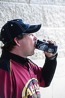 Jul, 10, 2011; Joliet, IL, USA: NHRA top fuel dragster driver Del Worsham with Full Throttle drink during the Route 66 Nationals at Route 66 Raceway. Mandatory Credit: Mark J. Rebilas-