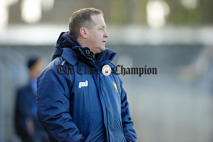 Clare manager Colm Collins on the sideline against Wicklow during their National League division 4 round 4 game at Cusack Park. Photograph by John Kelly.