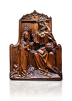Gothic wood relief sculpture of the crwoning of of the Virgin Mary in the central European sgchiool style, end of 15th Century.  National Museum of Catalan Art, Barcelona, Spain, inv no: MNAC  5270. Against a white background.