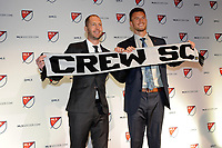 Philadelphia, PA - Thursday January 19, 2018: Gregg Berhalter, Ben Lundgaard during the 2018 MLS SuperDraft at the Pennsylvania Convention Center.