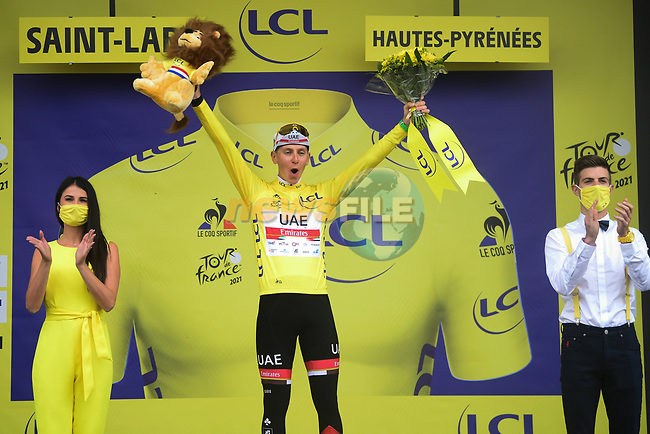 Race leader Tadej Pogacar (SLO) UAE Team Emirates wins Stage 17 and retains the Yellow Jersey of the 2021 Tour de France, running 178.4km from Muret to Saint-Lary-Soulan Col du Portet, France. 14th July 2021.  <br /> Picture: A.S.O./Pauline Ballet   Cyclefile<br /> <br /> All photos usage must carry mandatory copyright credit (© Cyclefile   A.S.O./Pauline Ballet)