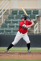 Evan Skoug (14) of the Kannapolis Intimidators at bat against the Greensboro Grasshoppers at Kannapolis Intimidators Stadium on August 13, 2017 in Kannapolis, North Carolina.  The Grasshoppers defeated the Intimidators 4-1 in 10 innings in the completion of a game suspended on August 12, 2017.  (Brian Westerholt/Four Seam Images)
