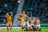 21st May 2021; Twickenham, London, England; European Rugby Challenge Cup Final, Leicester Tigers versus Montpellier; Richard Wigglesworth of Leicester Tigers clears the ball