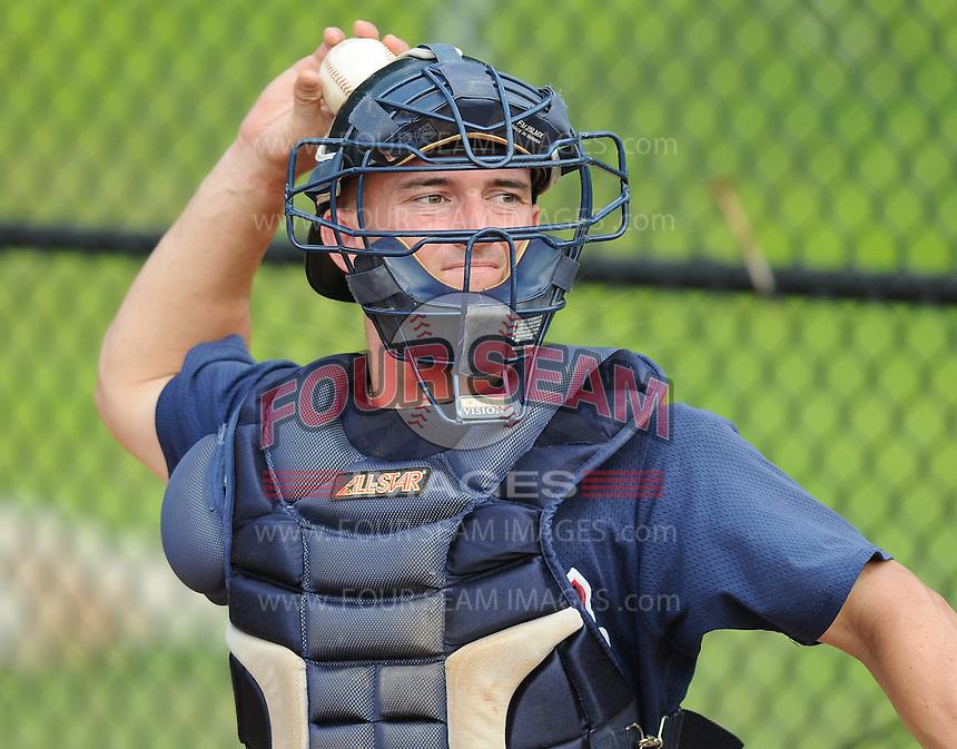 July 15, 2009: Catcher Daniel Elorriaga-Matra (32) of the Danville Braves, rookie Appalachian League affiliate of the Atlanta Braves, before a game at Dan Daniel Memorial Park in Danville, Va. Photo by:  Tom Priddy/Four Seam Images