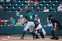 Nick Gonzales (2) of the Greensboro Grasshoppers at bat against the Winston-Salem Dash at Truist Stadium on August 13, 2021 in Winston-Salem, North Carolina. (Brian Westerholt/Four Seam Images)
