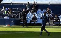 KANSAS CITY, KS - NOVEMBER 22: Sporting KC coach Peter Vermes watches the action from the sidelines before a game between San Jose Earthquakes and Sporting Kansas City at Children's Mercy Park on November 22, 2020 in Kansas City, Kansas.