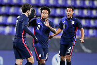 WIENER NEUSTADT, AUSTRIA - NOVEMBER 16: Giovanni Reyna #7 of the United States scores a goal and celebrates during a game between Panama and USMNT at Stadion Wiener Neustadt on November 16, 2020 in Wiener Neustadt, Austria.