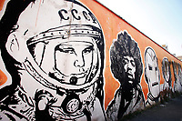 Title Wall of Fame, Artist  JB Rock, shown Yuri Gagarin, Jimi Hendrix<br /> This is a 60 meters mural showing famous faces like the Hall of Fame<br /> Rome February 7th 2019. Street Art in Rome, Ostiense<br /> district. Very important writers painted Murales in various districts of Rome to tell stories about the city, to commemorate important moments, to embellish the quarter or simply to portray it.  <br /> Photo Samantha Zucchi Insidefoto