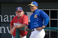 Huntsville Stars manager Don Money (7) chats with Jacksonville Suns hitting coach Luis Salazar (3) at the Baseball Grounds in Jacksonville, FL, Thursday June 12, 2008.