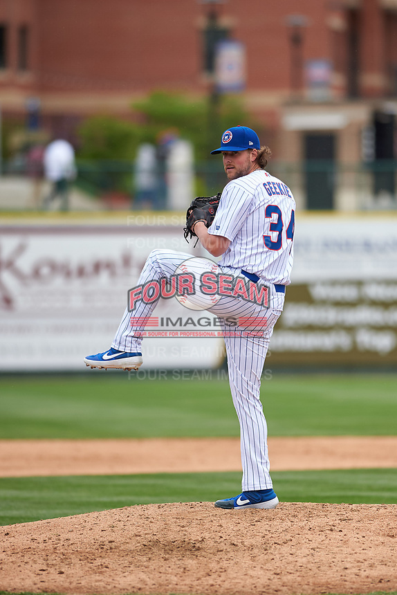 South Bend Cubs relief pitcher Dalton Geekie (34) during a Midwest League game against the Cedar Rapids Kernels at Four Winds Field on May 8, 2019 in South Bend, Indiana. South Bend defeated Cedar Rapids 2-1. (Zachary Lucy/Four Seam Images)