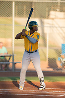 AZL Athletics first baseman Alonzo Medina (12) at bat during an Arizona League game against the AZL Giants Black at the San Francisco Giants Training Complex on June 19, 2018 in Scottsdale, Arizona. AZL Athletics defeated AZL Giants Black 8-3. (Zachary Lucy/Four Seam Images)