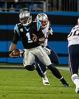 The Carolina Panthers play the New England Patriots at Bank of America Stadium in Charlotte North Carolina on Monday Night Football.  The Panthers defeated the Patriots 24-20.  Carolina Panthers quarterback Cam Newton (1)