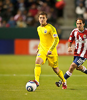 CARSON, CA – APRIL 9, 2011: Columbus Crew midfielder Robbie Rogers (18) during the match between Chivas USA and Columbus Crew at the Home Depot Center, April 9, 2011 in Carson, California. Final score Chivas USA 0, Columbus Crew 0.