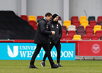 14th February 2021; Brentford Community Stadium, London, England; English Football League Championship Football, Brentford FC versus Barnsley; Barnsley Manager Valerien Ismael celebrates after the final whistle