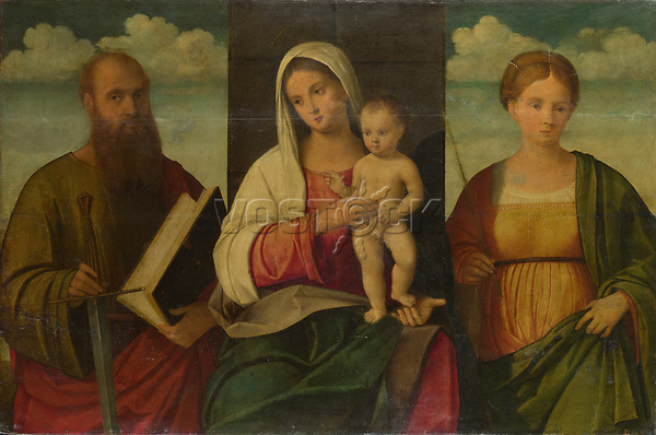 Full title: The Virgin and Child and Saints<br /> Artist: Francesco Bissolo<br /> Date made: probably 1505-30<br /> Source: http://www.nationalgalleryimages.co.uk/<br /> Contact: picture.library@nationalgallery.co.uk<br /> <br /> Copyright © The National Gallery, London