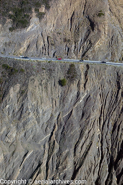 aerial photograph of California State Route 1 at Devil's Slide, San Mateo County, California