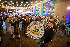 """September 24, 2021; The Shannon Rovers Irish Pipe Band kick off the """"Rally in the Alley"""" event, part of the 2021 Shamrock Series in Chicago. (Photo by Matt Cashore/University of Notre Dame)"""