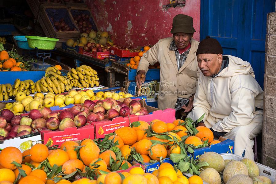 Essaouira, Morocco.  Fruit Vendor in the Medina.