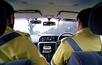 Traffic police officers driving their police rapid response traffic vehicle on an emergency call as viewed from the inside. This image may only be used to portray the subject in a positive manner..©shoutpictures.com..john@shoutpictures.com