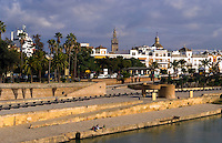 Beautiful river in downtown city center of Seville or Sevilla, Spain