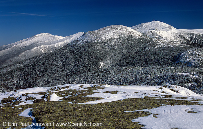 Mount Eisenhower (center) and Mount Washington (behind right) from near the summit of Mount Pierce in the White Mountains, New Hampshire during the winter months. Named for President Dwight D. Eisenhower, Mount Eisenhower was once called Mount Pleasant, but was renamed Mount Eisenhower after President Eisenhower died.
