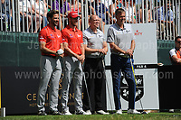 The Wales and England team prepare to tee off from the 1st  during The 2017 Celebrity Cup golf tournament at the Celtic Manor Resort, Newport, South Wales. 1.07.2017 <br /> <br /> <br /> Jeff Thomas Photography -  www.jaypics.photoshelter.com - <br /> e-mail swansea1001@hotmail.co.uk -<br /> Mob: 07837 386244 -