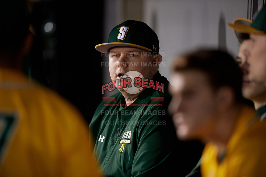Siena Saints Casey Garcia (41) during a game against the UCF Knights on February 14, 2020 at John Euliano Park in Orlando, Florida.  UCF defeated Siena 2-1.  (Mike Janes/Four Seam Images)