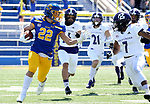 BROOKINGS, SD - APRIL 24: South Dakota State Jackrabbits running back Isaiah Davis #22 looks to absorb the hit by Holy Cross Crusaders defensive back John Smith #7 at Dana J Dykhouse Stadium on April 24, 2021 in Brookings, South Dakota. (Photo by Dave Eggen/Inertia)