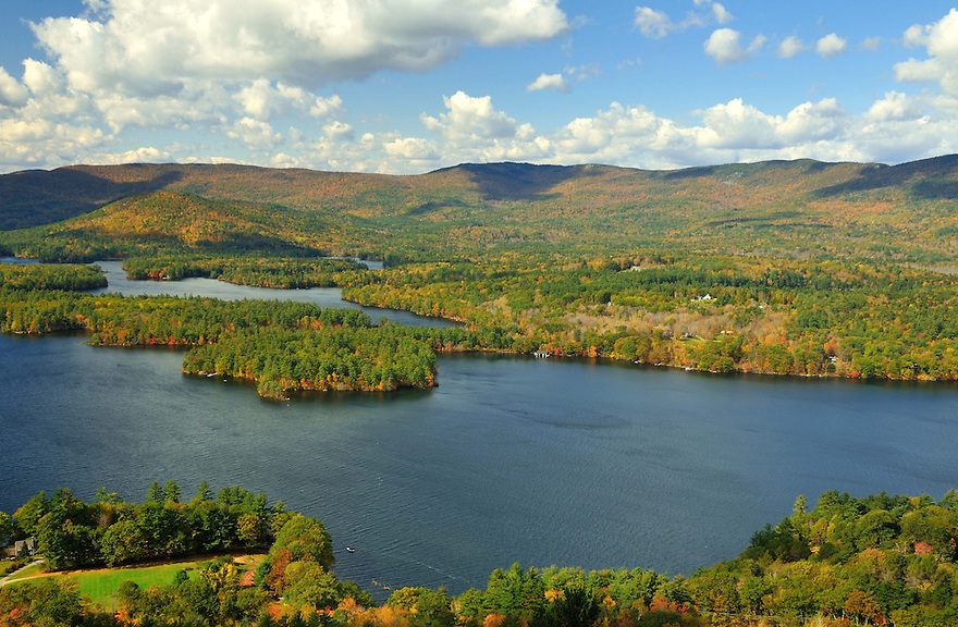 A clear autumn day unfolds over Squam Lake in this view from Red Hill.