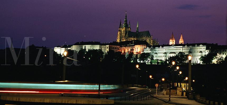 Distant view of Prague Castle and the Manesuv Bridge at night. Prague, Czech Republic.