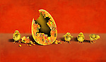 Illustrative image of newly hatched chicks by eggshell representing investment and profit