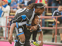 SANTA CLARA, CA - Saturday July 20, 2013:  San Jose Earthquakes midfielder Cordell Cato (7) and midfielder Walter Martinez  (10) celebrate Cato's goal during the San Jose Earthquakes vs Norwich City F.C. Canaries match in Buck Shaw Stadium in Santa Clara, CA. Final score SJ Earthquakes 1, Norwich City F.C. Canaries 0.