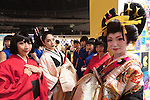 Dancers wearing traditional kimono pose for pictures during the Moshi Moshi Nippon Festival 2016 on November 26, 2016 in Tokyo, Japan. Moshi Moshi Nippon Festival 2016 aims to promote Japanese pop culture (fashion, anime, technology, music and food) to the world, and non-Japanese visitors are able to enter the event for free by showing their passport. This year's two day event included live shows by Japanese pop stars Silent Siren, Dempagumi.inc, Tempura Kids, Capsule and Kyary Pamyu Pamyu at the Tokyo Metropolitan Gymnasium. (Photo by Rodrigo Reyes Marin/AFLO)