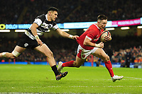 Wales Josh Adams scores his sides fifth try during the International friendly match between Wales and Barbarians at the Principality Stadium in Cardiff, Wales, UK. Saturday 30 November 2019.