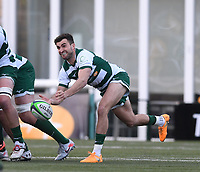 20th February 2021; Trailfinders Sports Club, London, England; Trailfinders Challenge Cup Rugby, Ealing Trailfinders versus Doncaster Knights; Craig Hampson of Ealing Trailfinders passes from a scrum